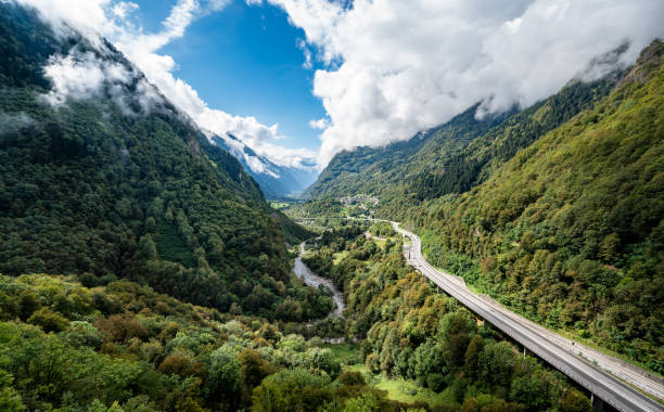 View of Swiss A13 highway from the Mesocco Castle stock photo
