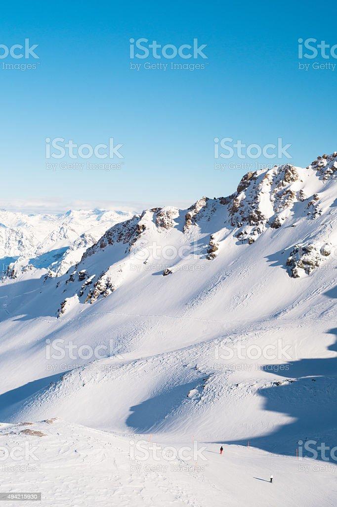 View of Swiss Alps from the Rothorn Peak, Lenzerheide, Switzerland stock photo