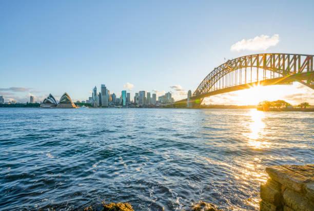 Blick auf sydney Hafen bei Sonnenuntergang,Australien – Foto