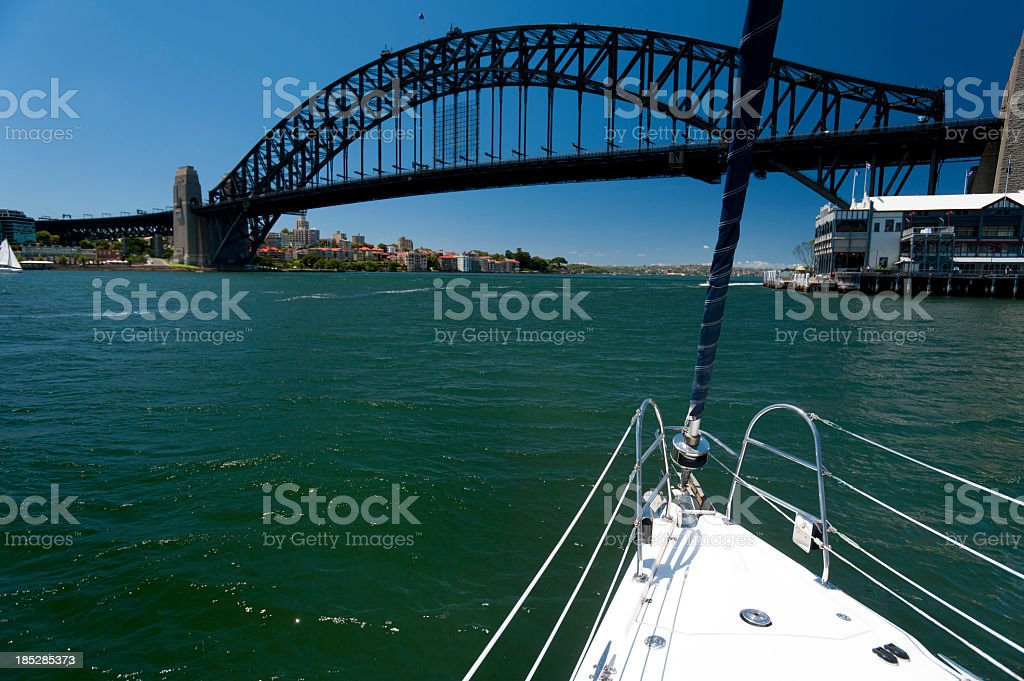 View of Sydney Harbour Bridge from a boat royalty-free stock photo