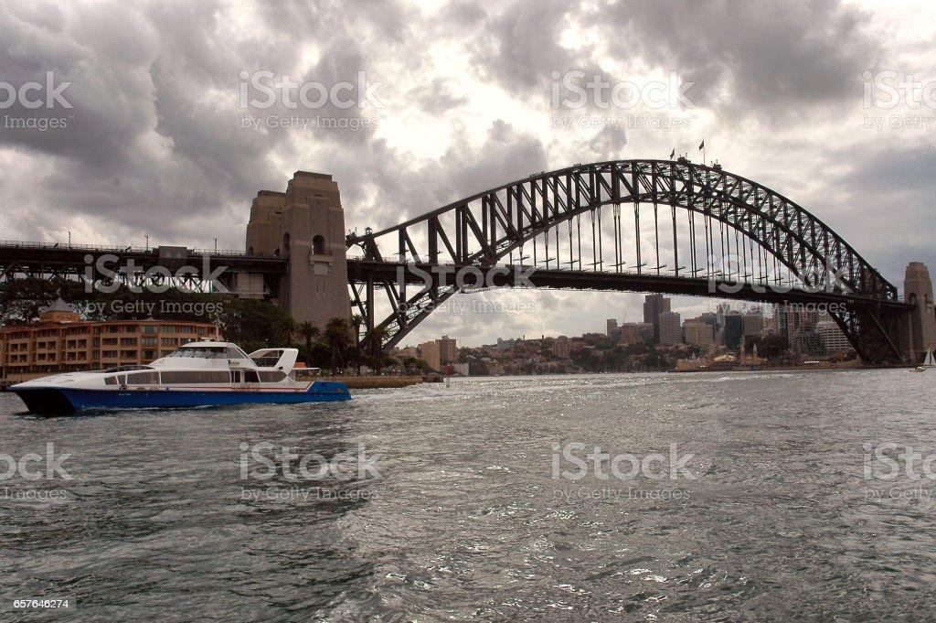 View of Sydney Harbour Bridge in Australia stock photo