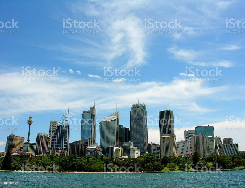 View of Sydney Harbour from the botanical gardens royalty-free stock photo