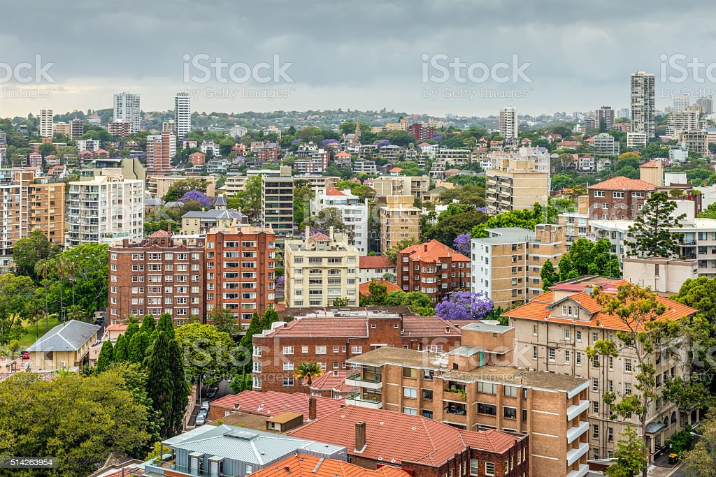 View of Sydney in cloudy weather stock photo