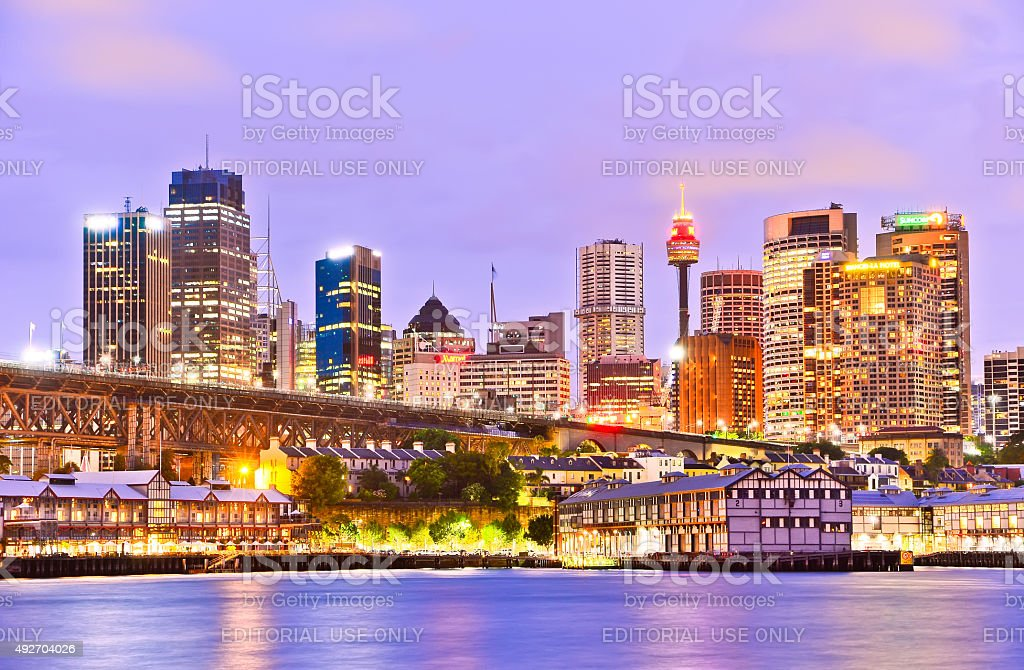 View of Sydney skyline and Darling Harbour at twilight stock photo