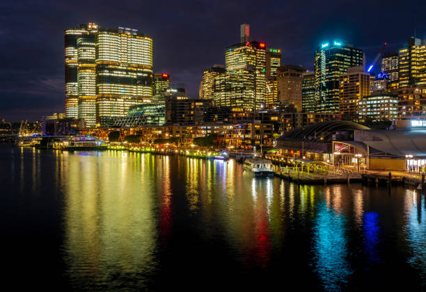 view of sydney wharf on pyrmont bay - barangaroo stock photos and pictures
