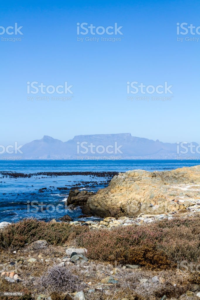 View of Table Mountain from Robben Island royalty-free stock photo