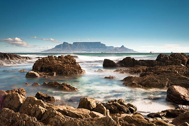 view of table mountain - table mountain national park stock pictures, royalty-free photos & images