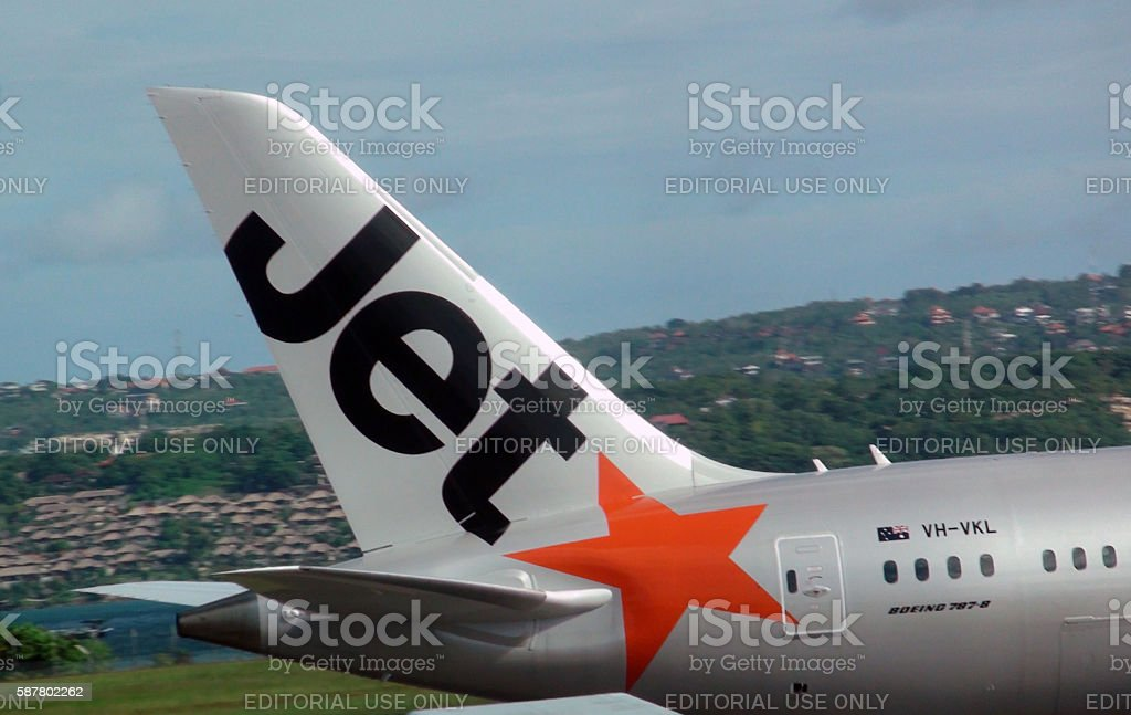 View Of Tail From Jetstar Airways At Airport In Bali.Indonesia stock photo