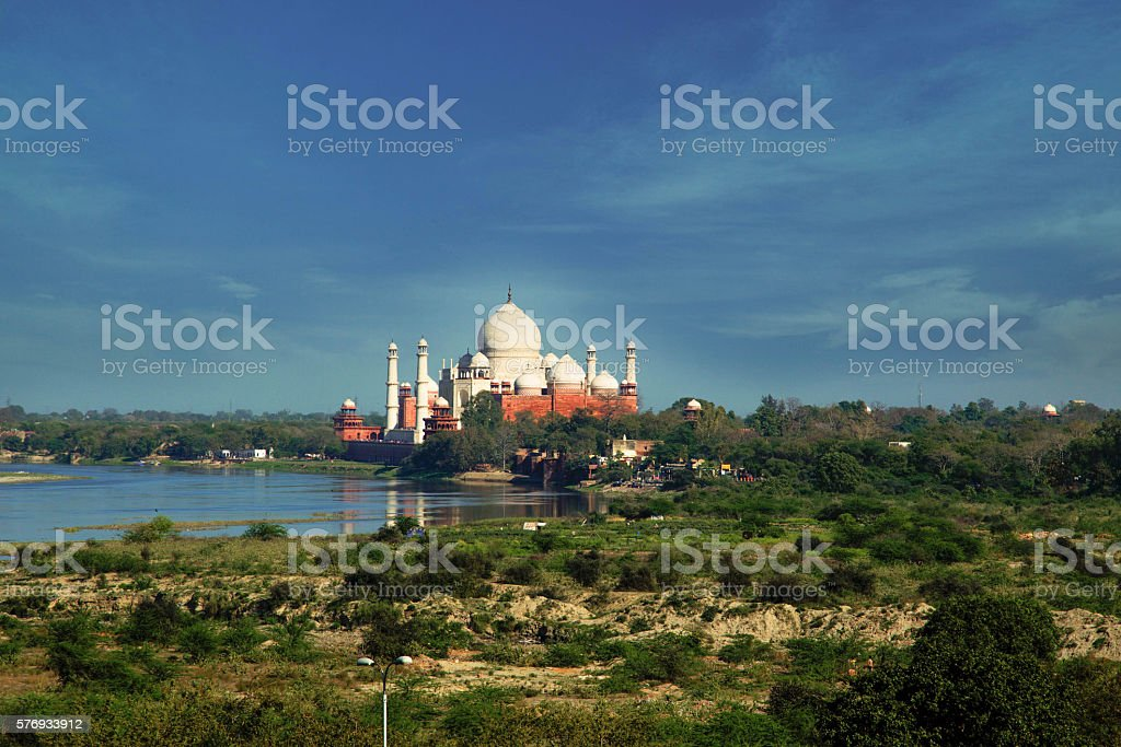 View of Taj Mahal from Agra fort, India stock photo