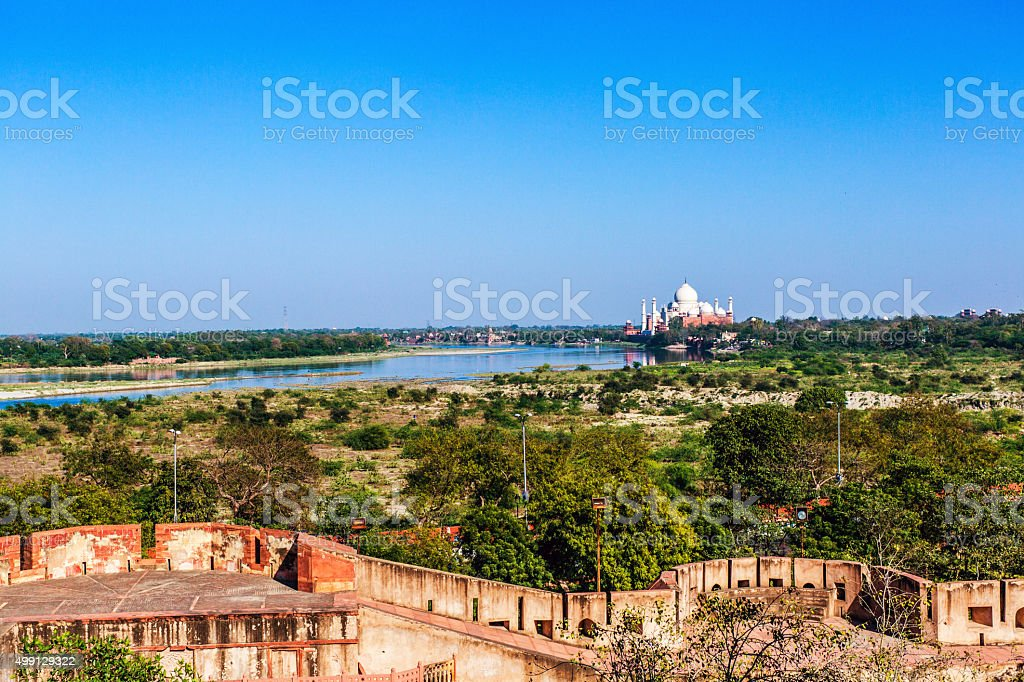 View of Taj Mahal from the Agra Fort stock photo
