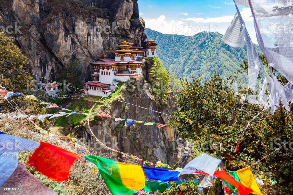 View of Taktshang Monastery on the mountain stock photo