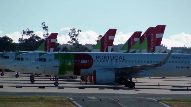 view of tap air portugal passengers airplane packed at lisbon airport due to covid-19 pandemic in portugal - resultados lisboa imagens e fotografias de stock