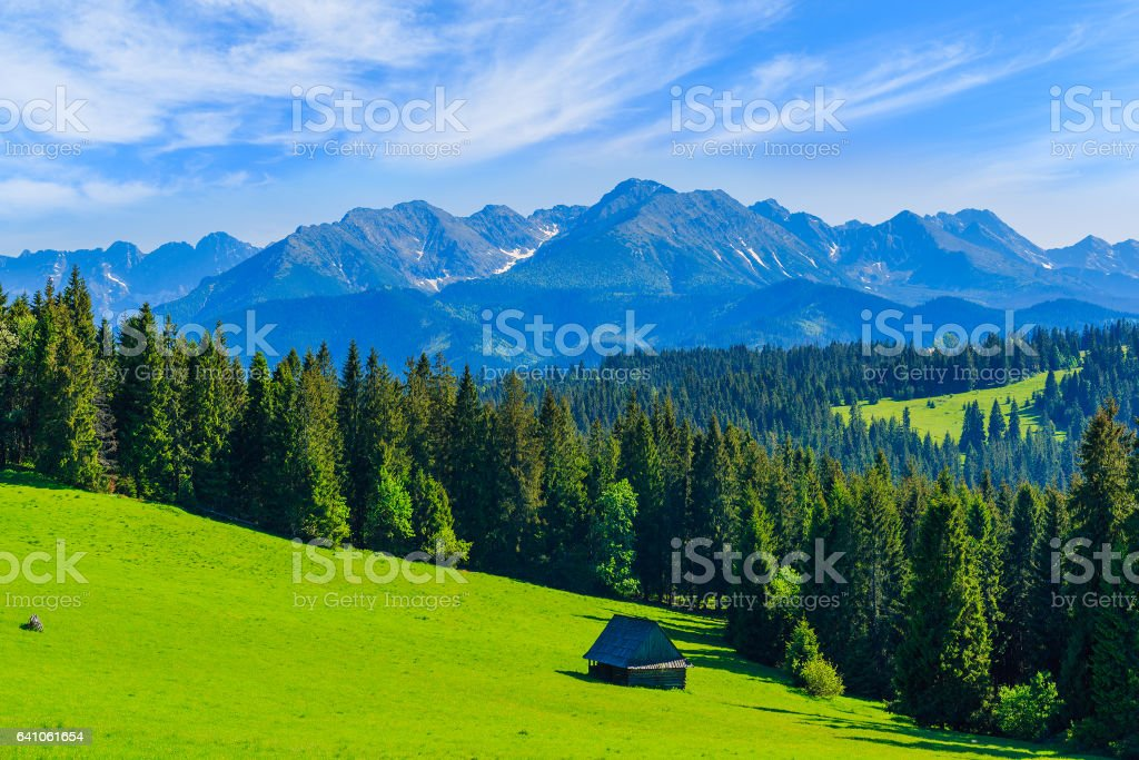 View of Tatra Mountains in summer, Poland stock photo