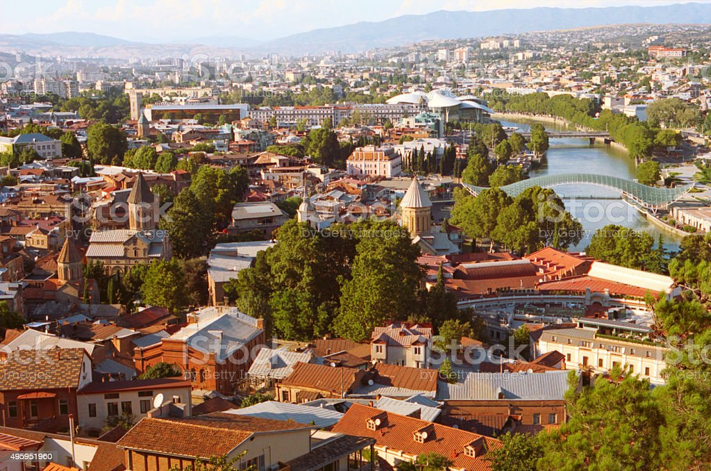 View of Tbilisi at sunset, Georgia country stock photo