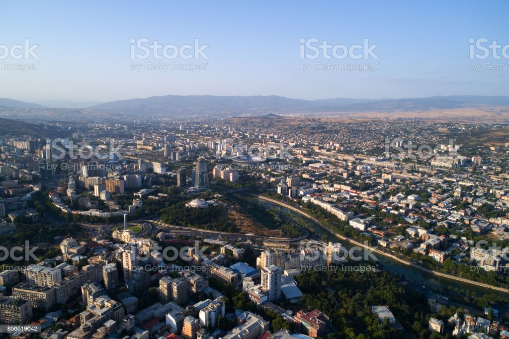 View of Tbilisi from a height. stock photo