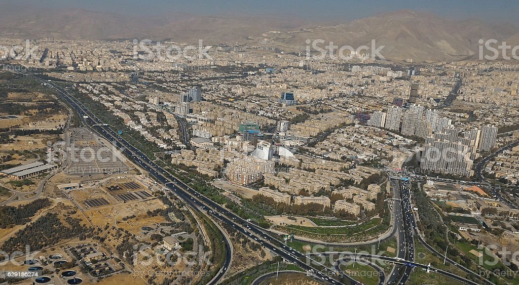 TEHRAN, IRAN View of Tehran from the Milad Tower - Iran stock photo