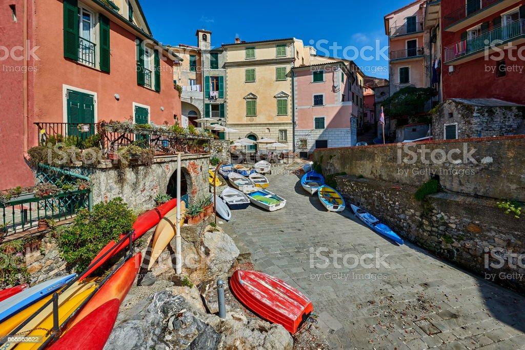 View of Tellaro, ancient small village of Liguria in Italy stock photo