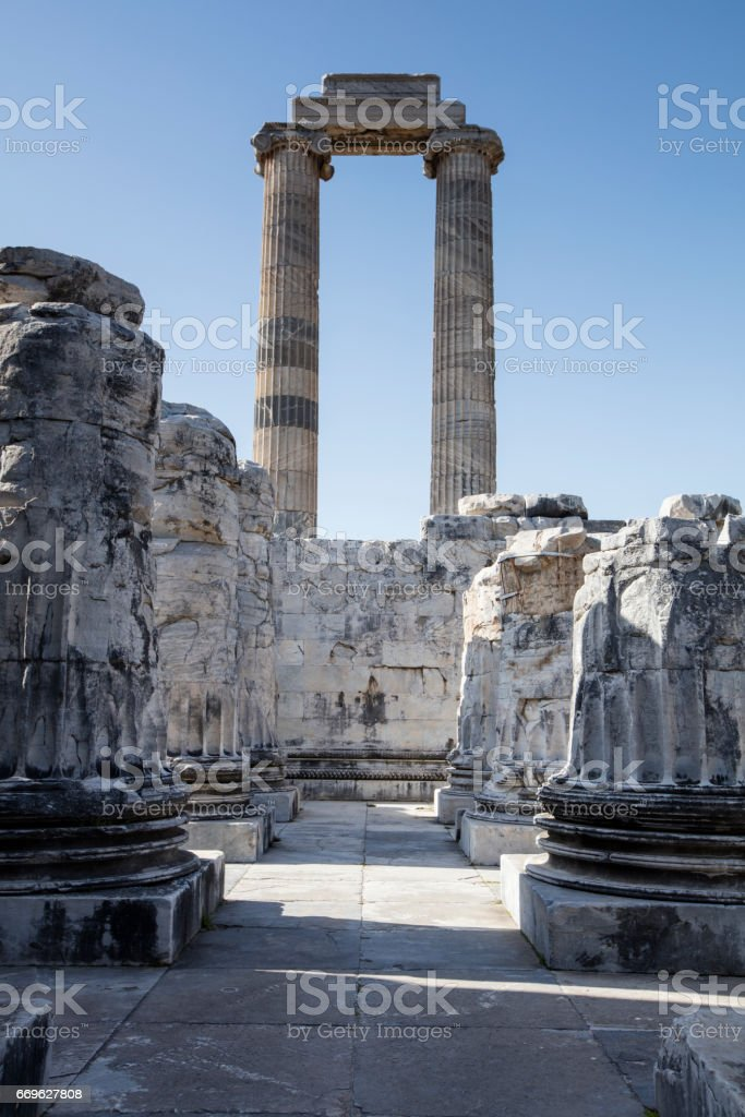 View of Temple of Apollo in antique city of Didyma, Aydin,Turkey stock photo