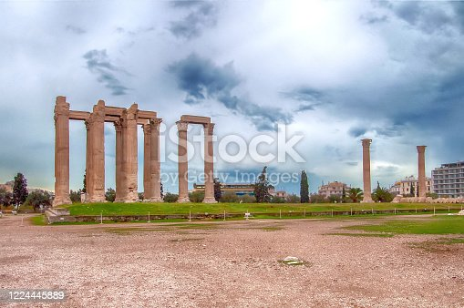 View of temple of Olympian Zeus in Athens, Greece. Rainy weather