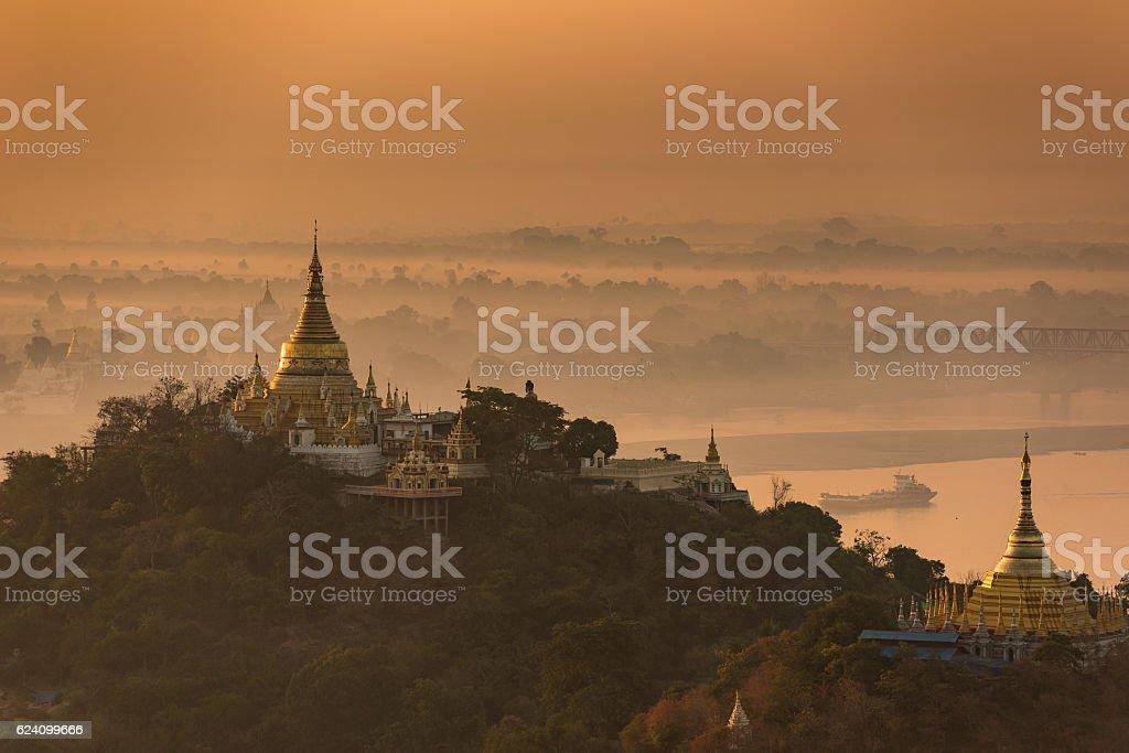 View of temples from Soon U Ponya Shin Pagoda stock photo