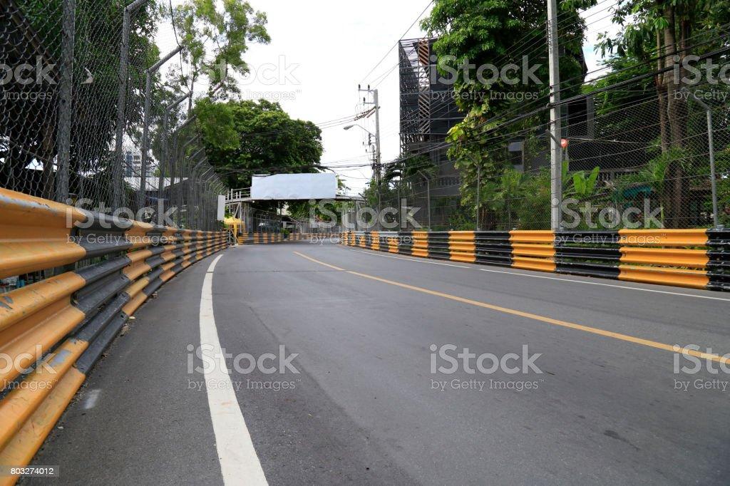 View of temporary street circuit. stock photo