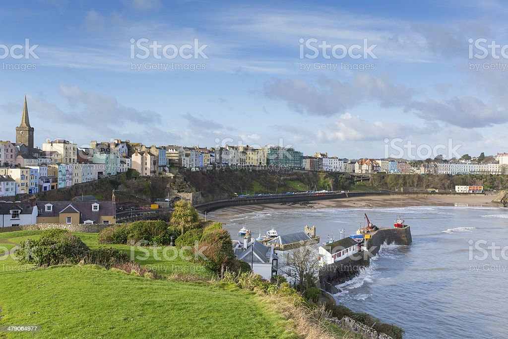 View of Tenby town and harbour Pembrokeshire Wales historic Welsh town stock photo