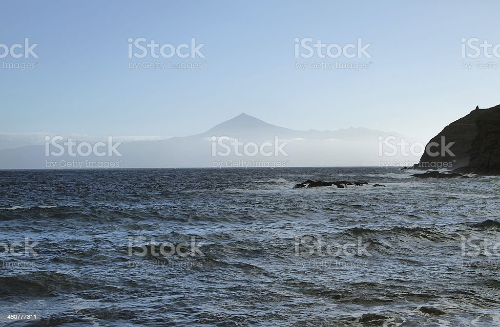 View of Tenerife island from La Caleta beach, stock photo
