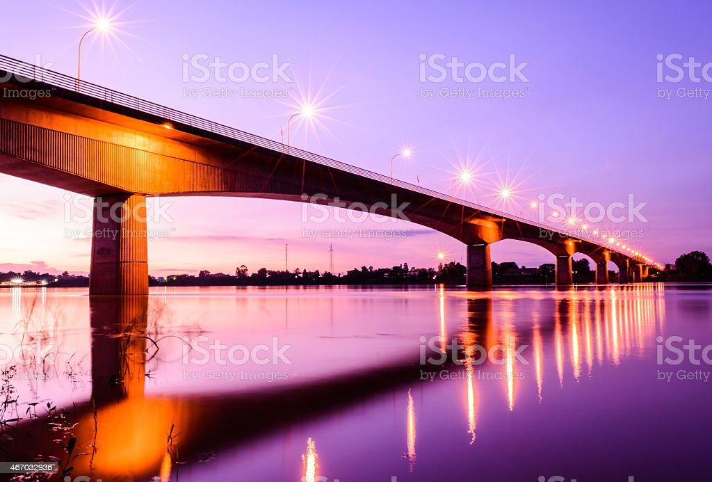 View of Thailand-Laos Bridge at sunset stock photo