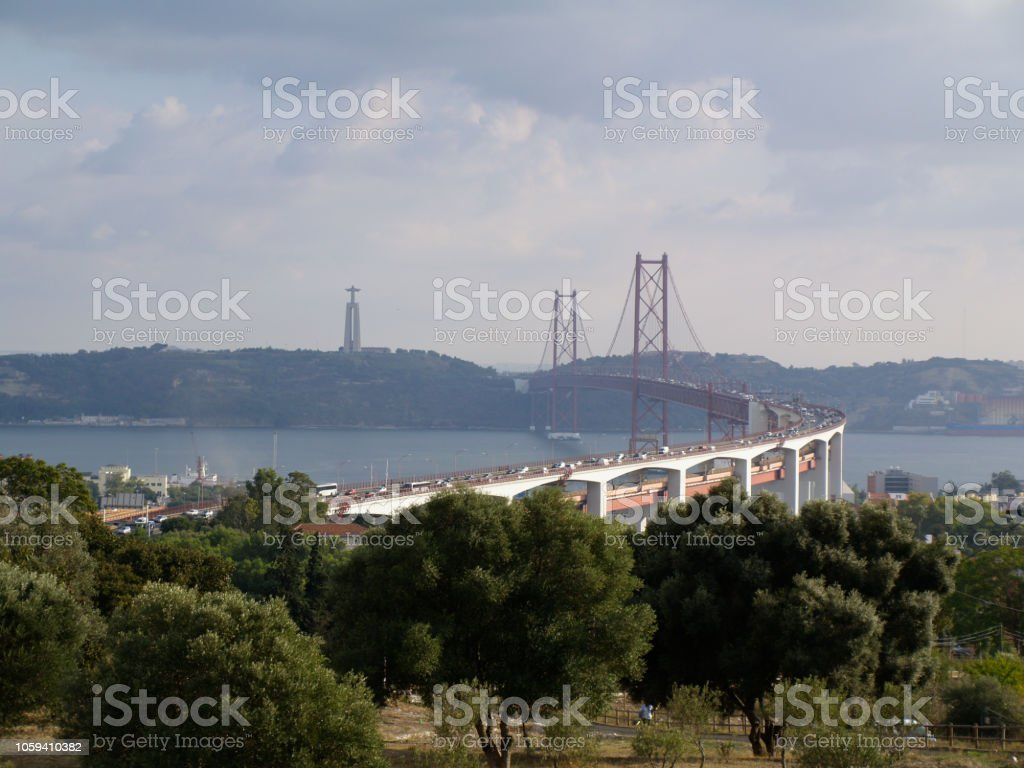 View of the 25 of April bridge in Lisbon stock photo