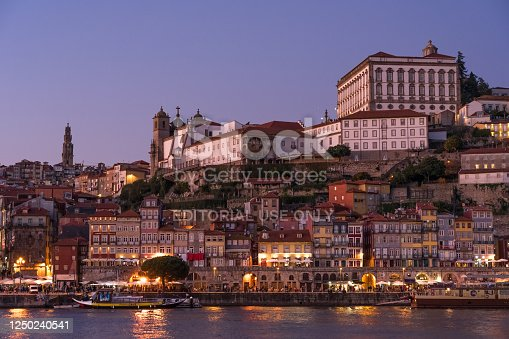 istock View of the A Ribeira and the city of Porto since Aldeina Nova at night with the typical ravelo boats. 1250240541