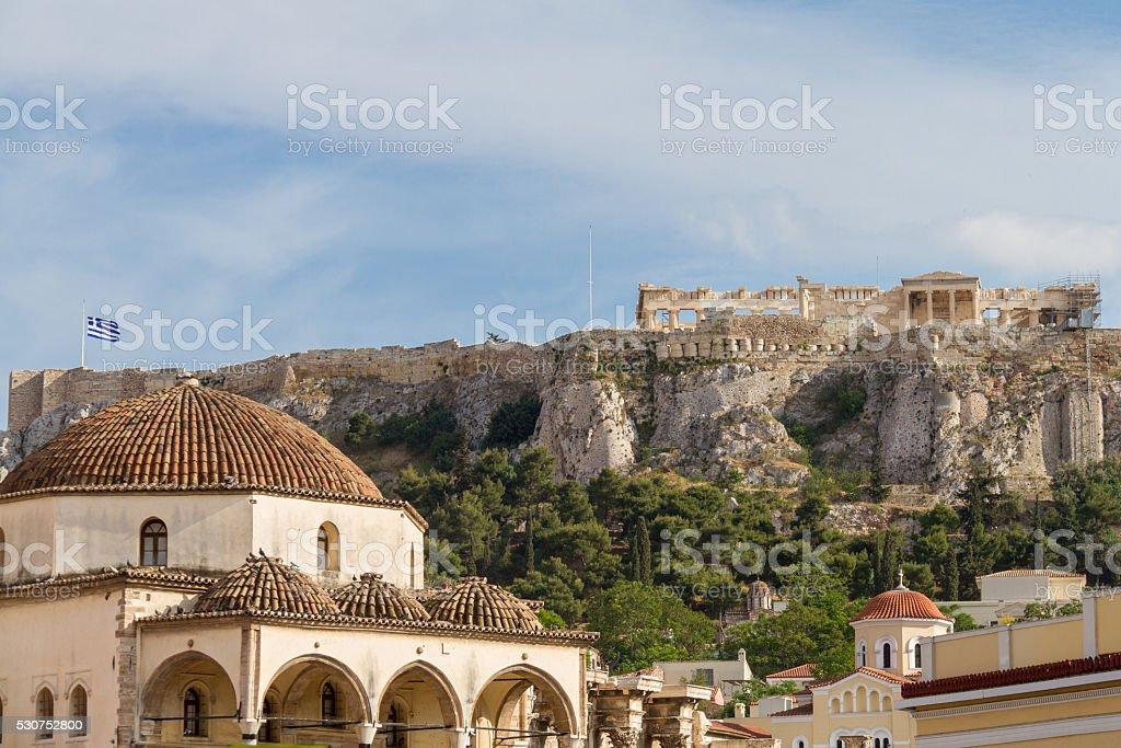 View of the Acropolis monument from Monastiraki Square stock photo
