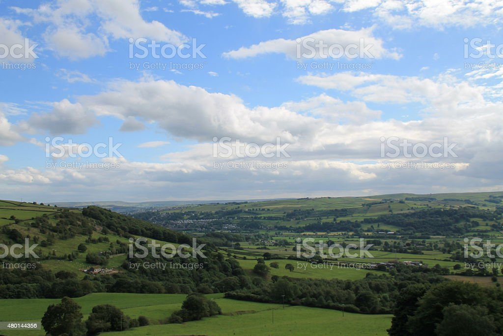 View of the Aire Valley, West Yorkshire, towards Keighley stock photo