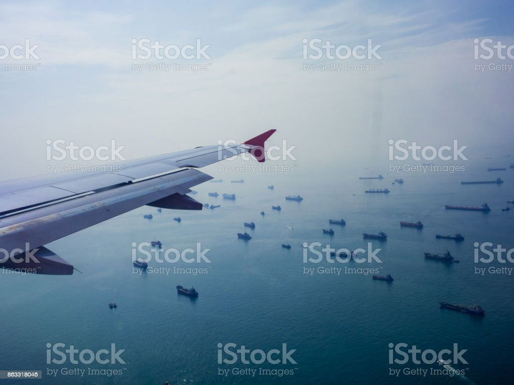view of the airplane. stock photo