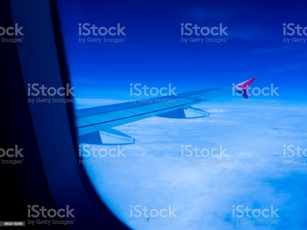 view of the airplane window. stock photo
