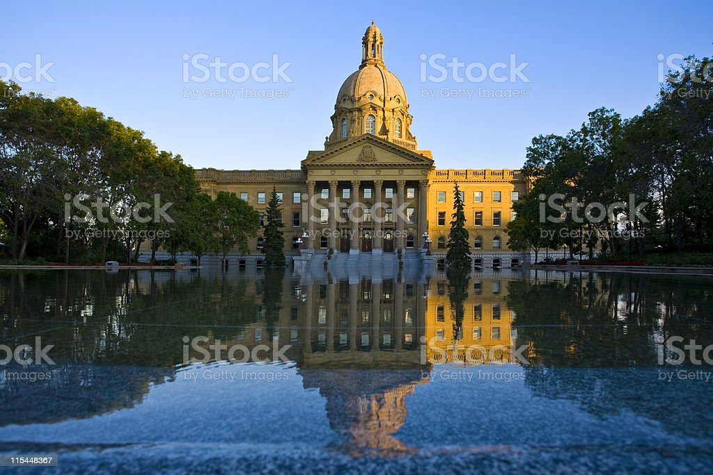 View of the Alberta Legislature Building across the water stock photo
