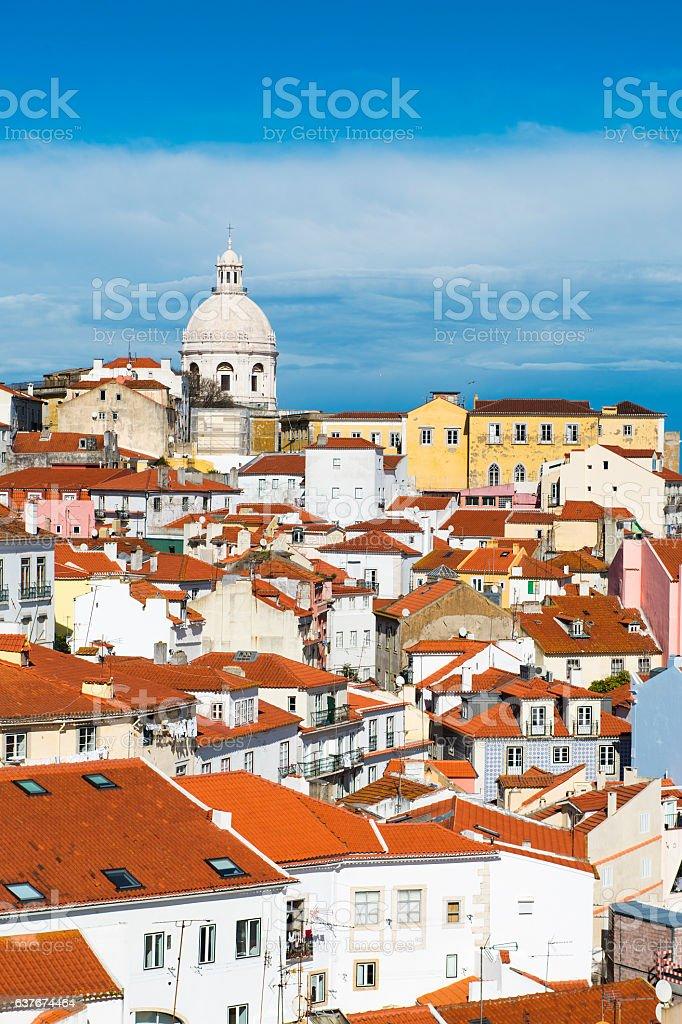 View of the Alfama Neighbourhood in Lisbon, Portugal stock photo