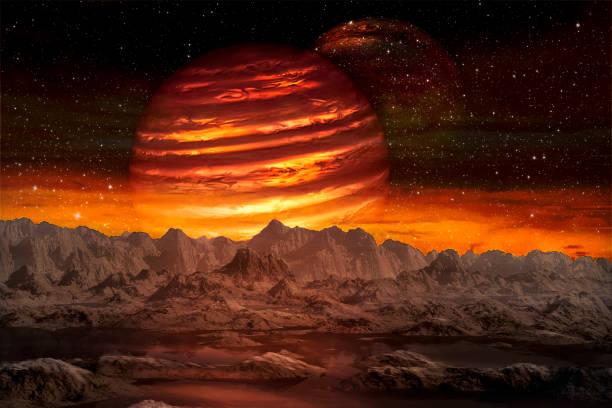 Blick auf den außerirdischen Planeten aus dem Weltraum während seiner beiden Monde steigt. Elemente dieses Bildes von der NASA zur Verfügung gestellt. – Foto