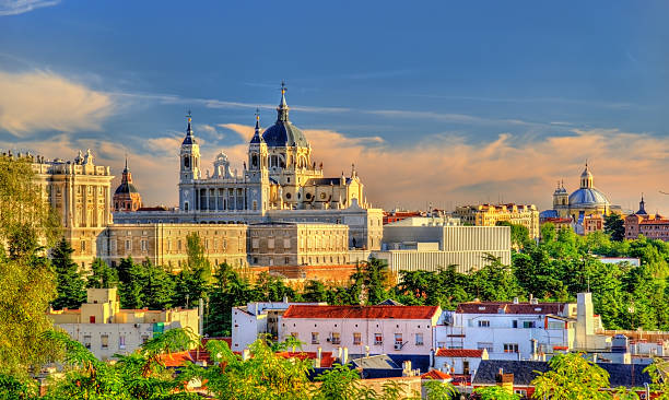 view of the almudena cathedral in madrid, spain - madrid stok fotoğraflar ve resimler
