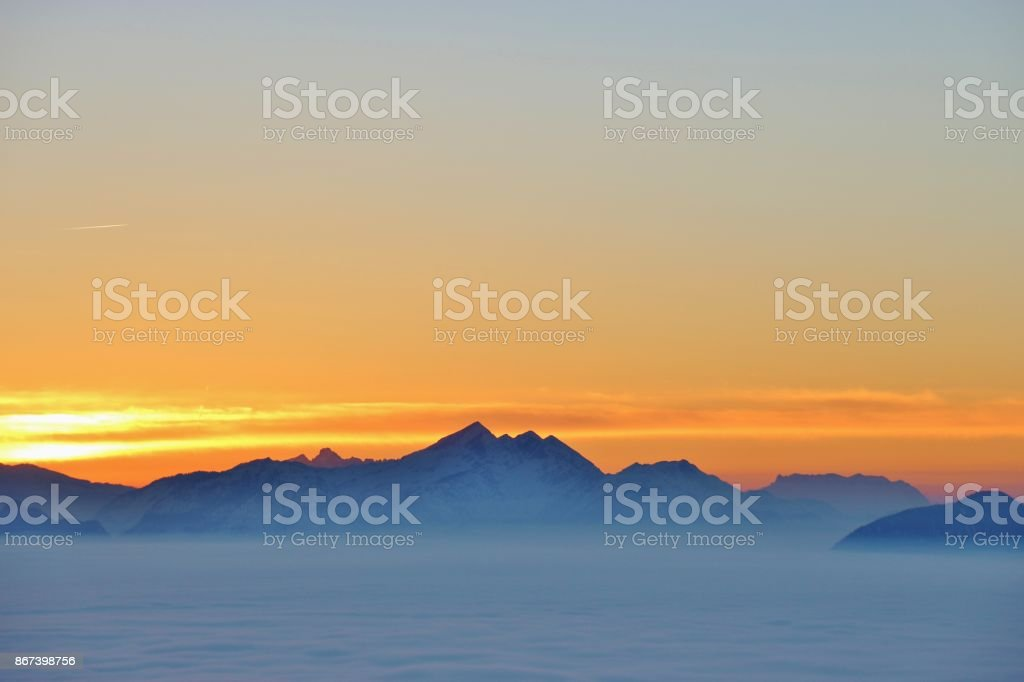 View of the alps at sunset, in winter. Austria. stock photo