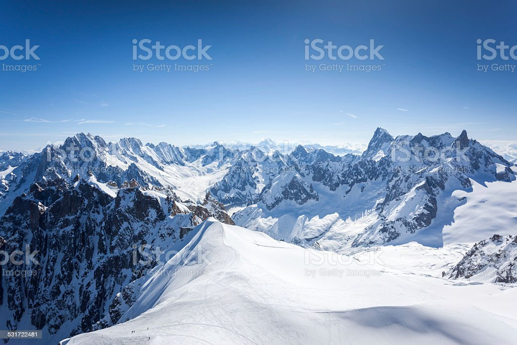 View of the Alps from Aiguille du midi, Chamonix, France stock photo