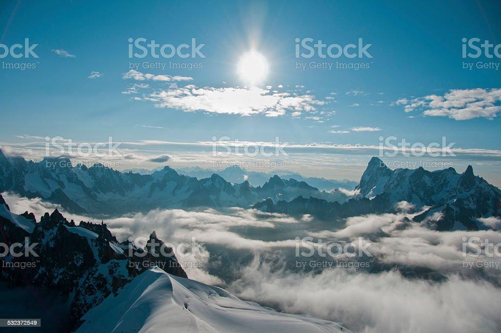 Blick auf die Alpen von der Aiguille du midi, Chamonix, Frankreich – Foto