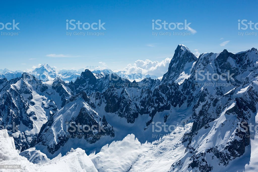 View of the Alps from Aiguille du midi royalty-free stock photo