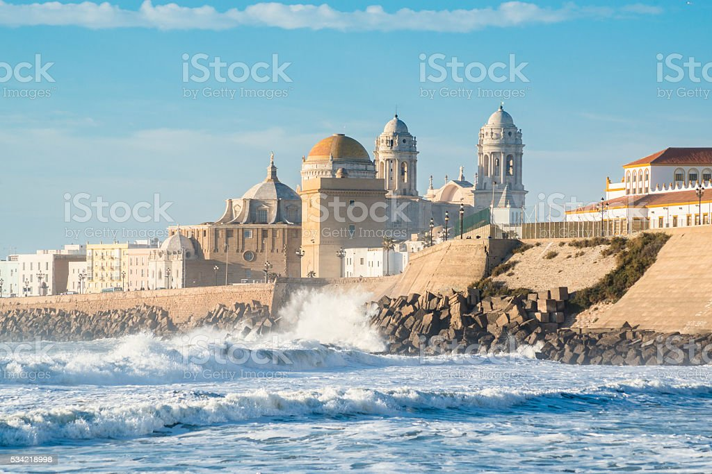 View of the Ancient Cadiz Cathedral. stock photo