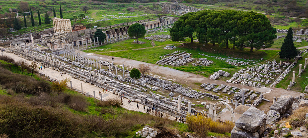 istock View of the ancient city from the top of the Ephesus Theater, Celsus Library, Columnar road and Agora. The ancient city is listed as a UNESCO World Heritage Site. 1067548566
