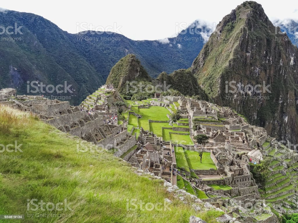 View of the ancient inca city of machu picchu the century inca site stock photo