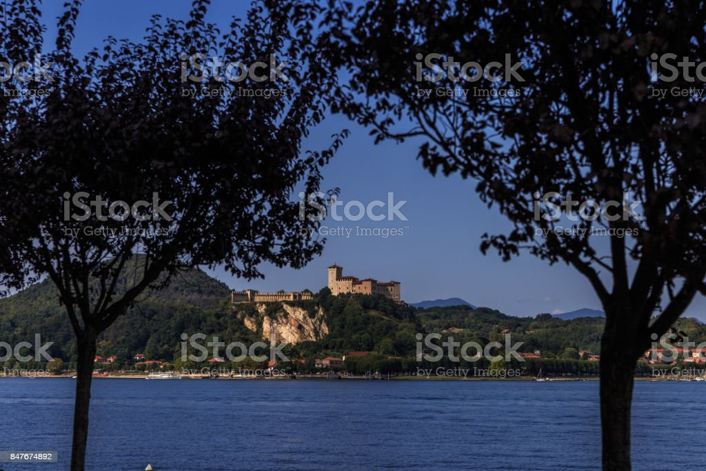 View of the Angera Fortress from the Arona lakefront stock photo