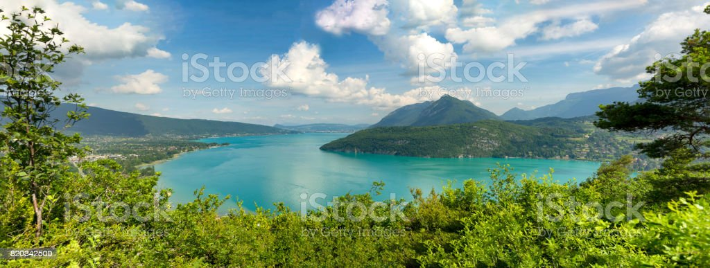 View of the Annecy lake in the french Alps stock photo