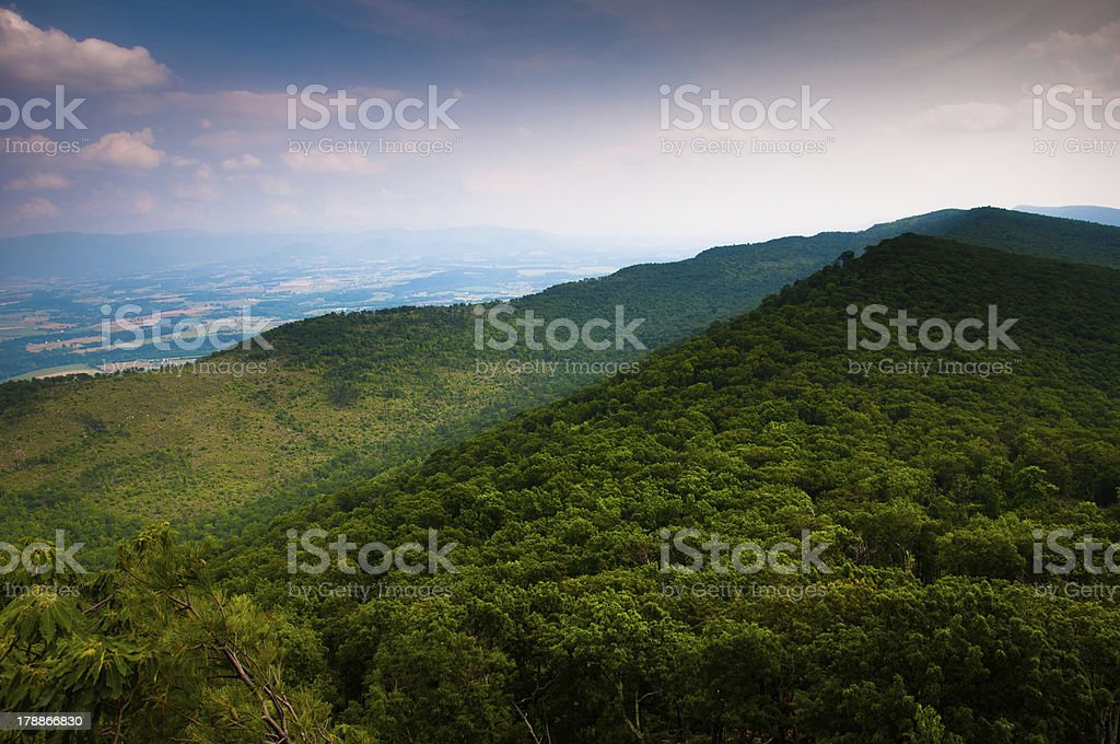 View of the Appalachian Mountains from Duncan Knob, Virginia stock photo