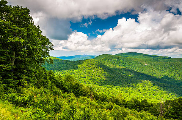 View of the Appalachian Mountains from Skyline Drive in Shenando stock photo