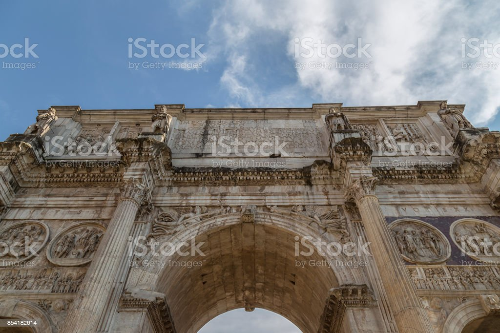 View of the arch of Constantine in Rome, Italy stock photo